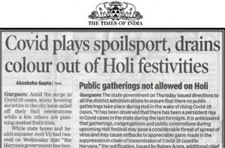 Covid plays spoilsport, drains colour out of Holi festivities
